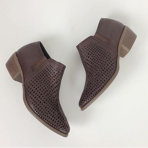 Jasmine chocolate brown cut out ankle booties